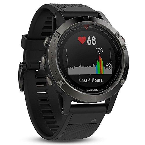 Garmin Uni Fēnix 5 Smartwatch Gps-Multisportuhr, Grau, Armband Schwarz, 47 mm