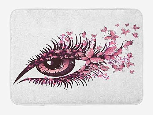 Icndpshorts Butterflies Bath Mat, Fairy Female Eye with Butterflies Eyelashes Mascara Stare Party...