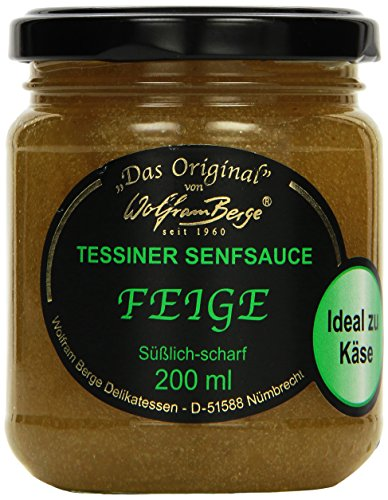 Wolfram Berge Original Tessiner Grüne Feigen-Senfsauce - Feinkostsauce aus pürierten kandierten Feigen mit fein-scharfem Senfgeschmack.Hergestellt im Schweizer Tessin (1 x 200 ml)