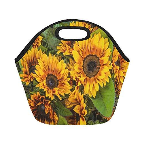 Isolierte Neopren-Lunchpaket Brown Yellow Sunflowers Verkauf Farmers Market Große wiederverwendbare thermische dicke Mittagessen-Tragetaschen für Lunch-Boxen für im Freien, Arbeit, Büro, Schule -