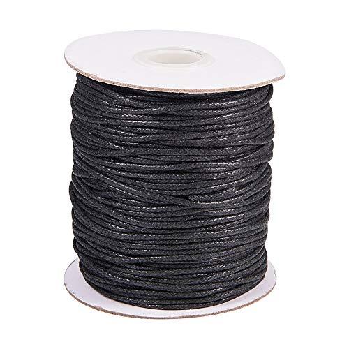 PandaHall Elite 1 Rolle 100yards 1,5 mm Gewachste Baumwollschnur Faden Friesen String Spool für Schmuck Makramee Supplies, Schwarz -