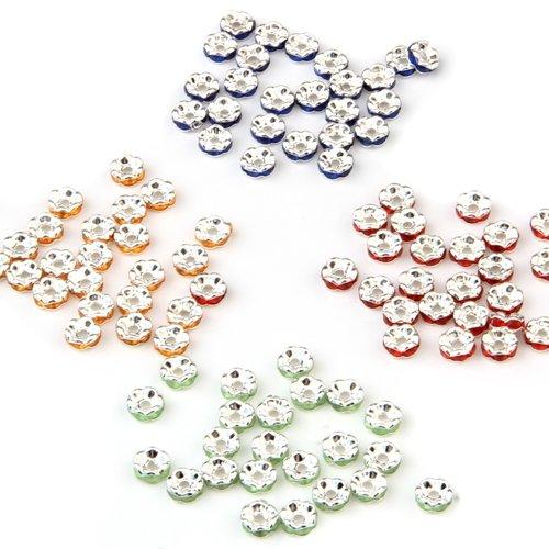 Ecloud Shop Lot 100 Rondelles Perles Intercalaires 6mm 4 Couleurs