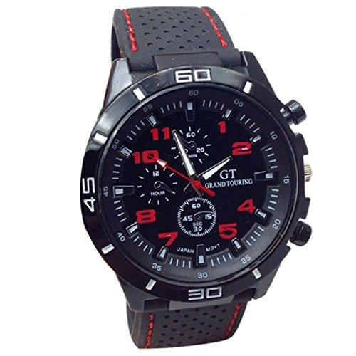 Ularma Reloj de pulsera Sport silicona de cuarzo reloj hombres rojo
