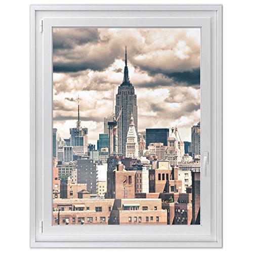 Fensterfolie - selbstklebendes Fensterbild | Sichtschutzfolie für Fenster und Spiegel - hochwertige Glasfolie | Fenstersticker Klebefolie - einfach anzubringen | Design Skyline NYC - 90 x 120 cm