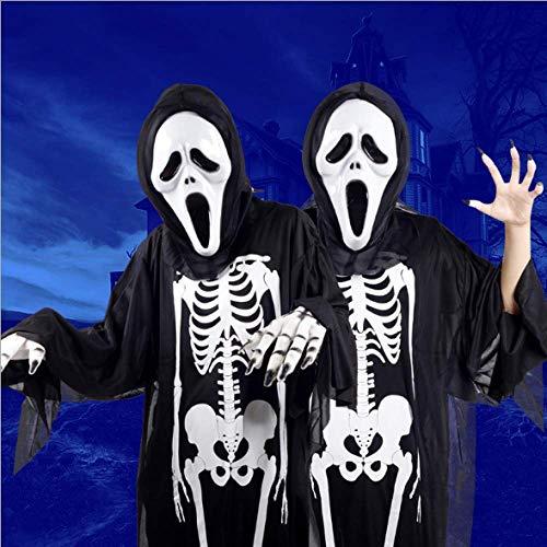 DYLBD Skelett Skelett Geist Kostüm Make-up Abendkleid Halloween Kostüm Horror Maske,I-OneSize