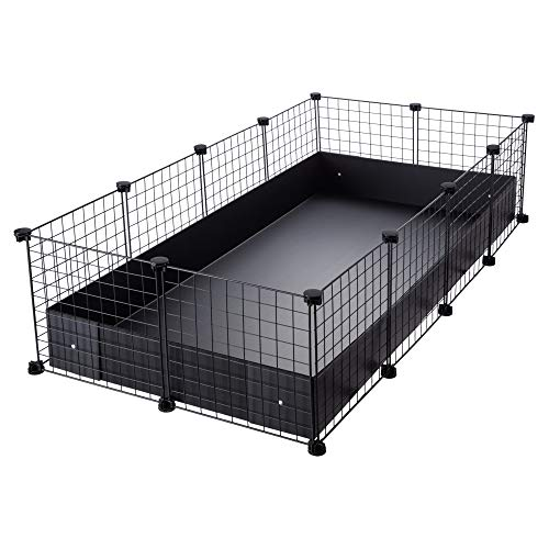 CagesCubes - Jaula CyC Grande (2X4 Paneles en Negro) + Base de Coroplast Negro para cobayas