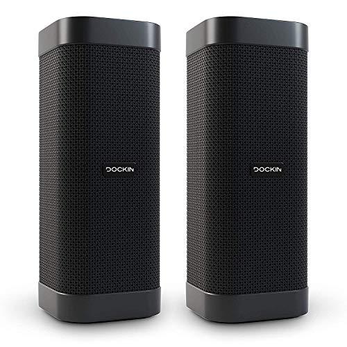 DOCKIN D Mate Portable Bluetooth Lautsprecher, 25 Watt Outdoor Speaker mit 16 Stunden Akku, 2er Set mit Stereo-Link, Tragbare Wireless Soundbox, integrierte Powerbank, wasserfest, Stereomode