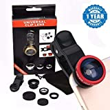 Drumstone Universal 3 In 1 Cell Phone Camera Lens Kit - Fish Eye Lens / 2 In 1 Macro Lens & Wide Angle Lens / Universal Clip For All Smartphones (Multicolor, Assorted Colour)