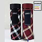 Frabble8 Double Wall Vacuum Flask Insulated Thermos Travel Stainless Steel Water Bottle With Strainer BPA Free- 500 ML Capacity , Leak Proof Sipper , Hot And Cold Water Bottle For Upto 8 - 12 Hours.( Pack Of 2 , 500ml Each , Brave & Warm)