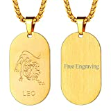 FaithHeart Hundermarke 12 Sternzeichen-Serie der Löwe- Gravierte Sternzeichen-Halskette aus Silber 925 mit Datums-Gravur auf der Rückseite, Geschenk zum Geburtstag für Mama