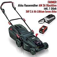 Farmer Akku Rasenmäher AM 36 Blackline mit Akku, 36 V 2.6 Ah Li-Akku, 1 Std Schnellladegerät, 37 cm Schnittbreite, Innovativer bürstenloser Motor
