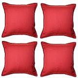 McAlister Textiles Essentials Kollektion | 4er Packung Savannah Zierkissen mit Füllung Jacquard-Gewebe 40 x 40cm in Rot | Deko Kissen für Sofa, Couch, Bett, Sessel