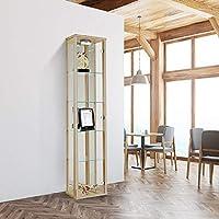 Displaysense Oak Single Door Glass Display Cabinet with Lighting - 370mm (Silver, Oak & Black available)