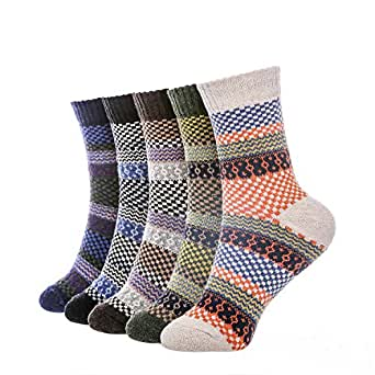 5 Pairs Winter Warm Cotton Ladies Women Socks Knitting Pure Vintage Floor Sock Bed Socks  One Size (01PATTERN15)