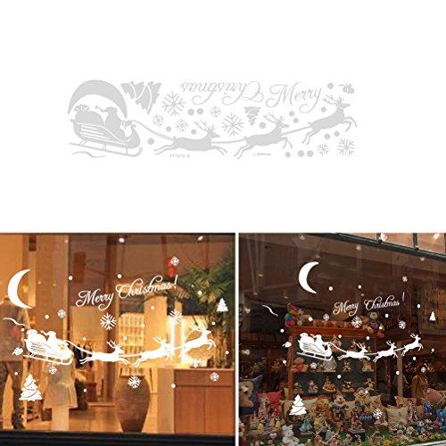 WINOMO Joyeux Noël autocollant flocon de neige flocon de neige autocollant amovible boules de noël décoration de fête de Noël (blanc)