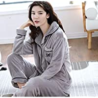 WYIKAI Pijamas Cálido Invierno Pijamas De Franela Gris Adulto Pijama De Terciopelo Coral Longsleeved Home Servicios Salón del Estudiante Pijamas,XXL