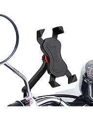 Anti-vibrations Support de Vélo Moto Téléphone Fall Prevention Guidon de Vélo Moto Berceau Collier Avec Rotation 360 Pour 3,5 à 6,3 pouces GPS pour Smartphones Autres Appareils (Moto)