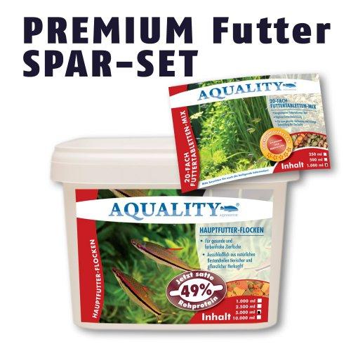 AQUALITY PREMIUM Futter Spar-Set (GRATIS Lieferung innerhalb Deutschlands - Premium Fischfutter-Flocken + 20-fach-MIX Futtertabletten für gesunde und farbenfrohe Zierfische im Aquarium)