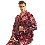 Herren Seide Schlafanzug Pyjama Rot X-Large