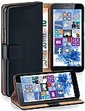 Pochette OneFlow pour Microsoft Lumia 640 XL housse Cover avec fentes pour cartes | Flip Case étui housse téléphone portable à rabat | Pochette téléphone portable étui de protection accessoires téléphone portable protection bumper en DEEP-BLACK