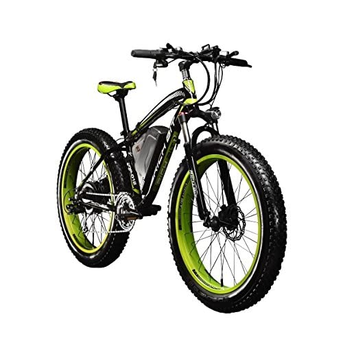 RICH BIT Electric Bikes Mens Cruiser Fat Bicycle TP012 1000W*48V*17Ah Fat Tire 26''*4.0inch 7 Gears SHIMANO Dearilleur Power Cycling Green