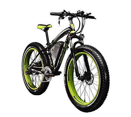 """RICH BIT Bici elettriche da Uomo Cruiser Fat Bicicletta TP012 1000 W*48V*17AH Fat Tire 26\""""*4.0 7marce Shimano Dearilleur Power Ciclismo Verde, Donna Uomo Unisex, Green"""
