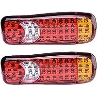 2pcs 12V 46LED Remorque Truck Stop arrière Feu arrière avertissement lumière de frein lumière inversée tourner Indicateur LED Feux de Brouillard