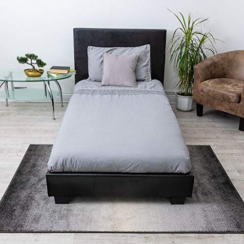 Home Treats Single Bed | Faux Leather Bed Frames | Black Prado Italia (Single)