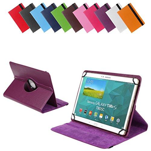 Universal Rotation-Tasche für verschiedene Tablet Modelle (9 / 10 / 10.1 Zoll, Violett / Lila) Größe Schutz Case Hülle Cover, 360° drehbar, vertikal und horizontal aufstellbar, mit Gummibandverschluss