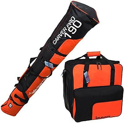 BRUBAKER Conjunto 'Super Function 1.0' Bolsa para botas y Casco de ski junto a 'Carver Pro 1.0' Bolsa para un par de Ski - Naranja / Negro - 190 cms.