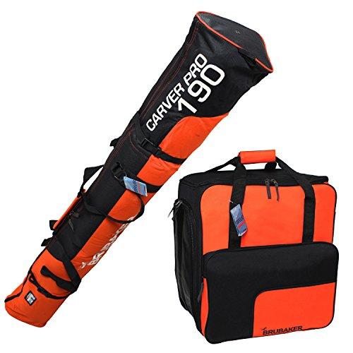 Brubaker Set Sac de ski et sac à chaussures de ski pour 1 paire de chaussures de ski jusqu'à 190 cm + Bâtons + Casque + Orange Noir
