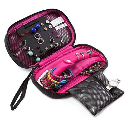 Viajes Organizador de joyas (hoyofo portátil de viaje bolsa de almacenamiento organizador de joyas para pendientes, collar para las mujeres
