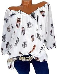 1fd11a85d184 JackenLOVE Sommer Damen Bluse Freizeit Locker Druck Oberteile Shirts Tee  Mode V Neck Halbe Hülse Tops