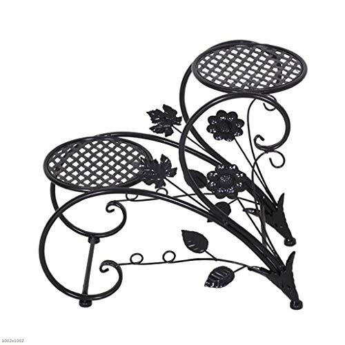 LYN-MEMORY Pflanzentreppe, 2-Tiered Scroll Pflanzenständer Indoor Outdoor Metall Pflanztopfständer Rack Klassische Blumenständer Regalhalter (Color : Black) Indoor-outdoor-color-kamera