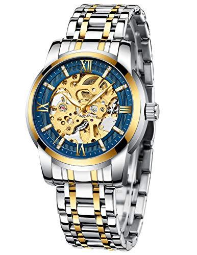 Herren Uhr Automatik Männer Mechanische Automatikuhr Skelett Designer Militär Wasserdicht Gold Edelstahl Armbanduhren Mann Schwarz Leuchtende Steampunk Hand Wind Analoge Klassisch Uhren