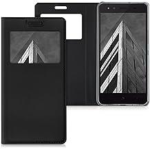 kwmobile Funda para bq Aquaris X5 - Case estilo libro de cuero sintético con ventanilla - Flip Cover plegable negro