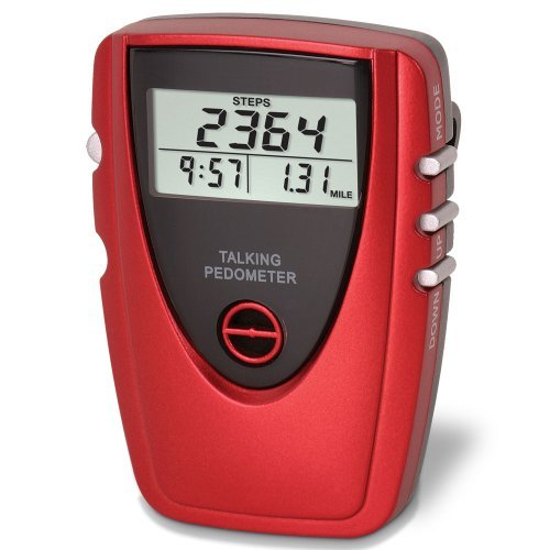 Talking Voice Pedometer with Clock - Red - Count Your Steps and Distance While Exercising by Launch Innovative Products -