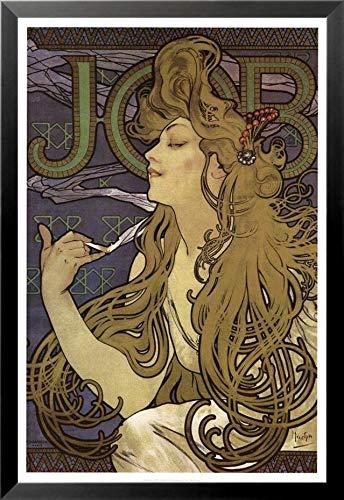 Buyartforless 1897 Cigarette by Alphonse Mucha Kunstdruck, gerahmt, 36 x 24 cm, Braun -