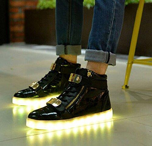 X-MOKE Unisex Adulto High-top 7 Colore USB Carica LED Lampeggiante Luminosi Sneakers Scarpe Sportive per esterno Partito Sport Scarpe da Passeggio Bambini Nero