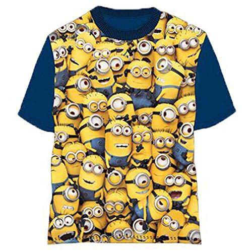 MINIONS T-Shirt für Kinder und Babys einfach unverbesserlich T-Shirt für 8 Jahre alte Blaue Baumwoll-Ärmel mit Universal-Lizenz. (8 Jahre 128 cm)