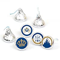 Royal Prince Charming - Baby Shower or Birthday Party Round Candy Sticker Favors - Labels Fit Hershey's Kisses (1 Sheet of 108)