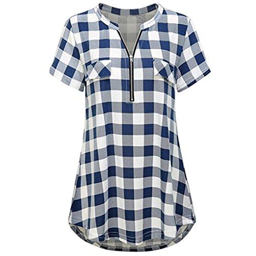 Zolimx maglietta donna manica corta perversioni t shirt donna divertenti, donne zip plaid v collo manica corta camicia polo casual shirt top (s, blu)
