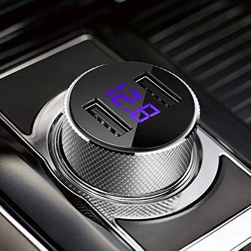 FEIGO LED Caricabatteria Auto USB, Mini Caricatore Adattatore Universale 2 USB 5V 3.4A Carica Rapida per iPhone X / 8/7 / 6 / Plus, iPad, Galaxy S8 / S7 /Edge, Huawei P9 / P10