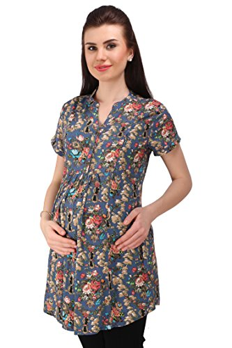 MomToBe Women's Rayon Maternity Top, Blue Multiprinted