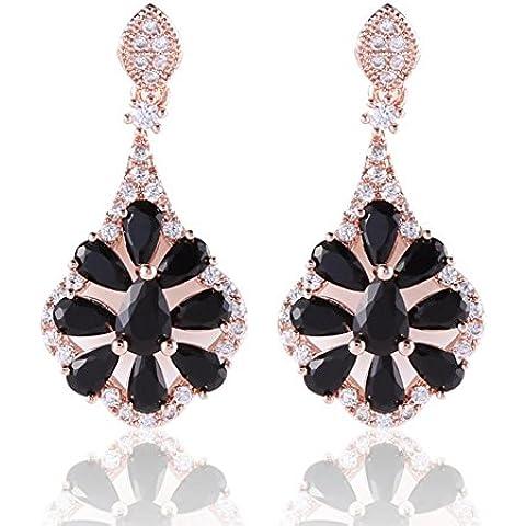 Bling fashion Orecchini pendenti placcati oro rosa 18K con Cristallo Brillante Di Lusso Nero
