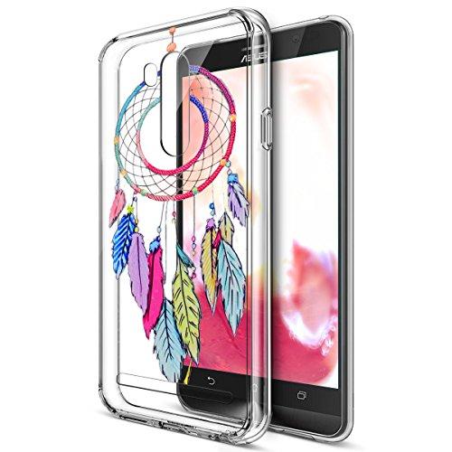 Kompatibel mit Asus Zenfone Go TV Hülle,Bunte Gemalte Mandala Blumen Transparent TPU Silikon Handyhülle Tasche Case Durchsichtig Schutzhülle für Asus Zenfone Go TV ZB551KL5.5,Bunte Feder Campanula