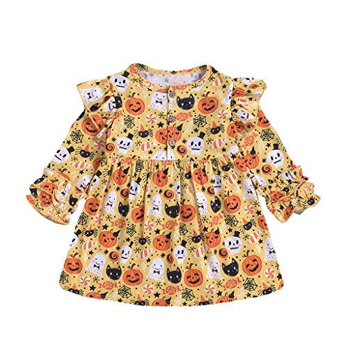Party Kleide Kostüm Outfits Baby Mädchen Halloween Ghost Print Kleid Langarm Rundhals Kleider Yuiopmo (12Monate-5 - Säuglings Ghost Kostüm