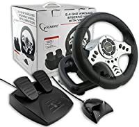 USB Wireless Steering Wheel & Pedals with Vibration / Shockforce Powered 2.4Ghz Wireless Driving Controller PC, Laptop / **NOT CONSOLE COMPATIBLE** iCHOOSE