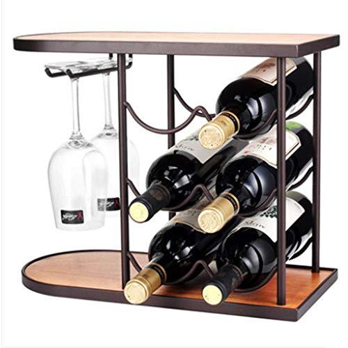 QWER2P Weinregal, Weinregal Cupholder Combo, kann 6 Flaschen Rotwein lagern, geeignet für Weinstube, Party, Dating, Sammlung, Heimtextilien, schwarz