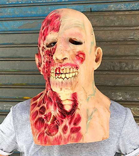 Littlefairy Maske,Halloween Zombie Maske Hood Walking Dead Horror Alien Zombie Latex Perücke